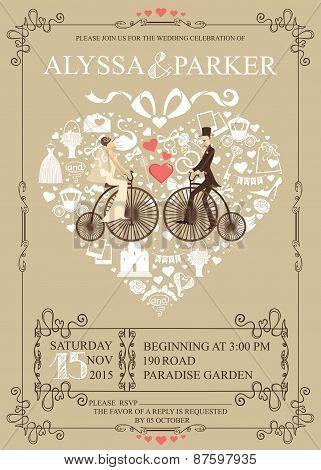 Wedding invitation.Heart composition.Bride,groom,bicycle