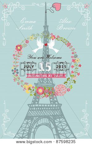 Wedding invitation.Eiffel tower,flower wreath,pigeons
