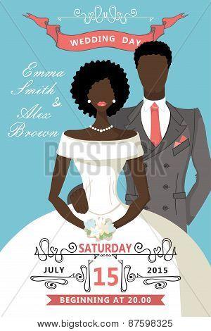 Wedding invitation.Cute cartoon mulatto bride , groom