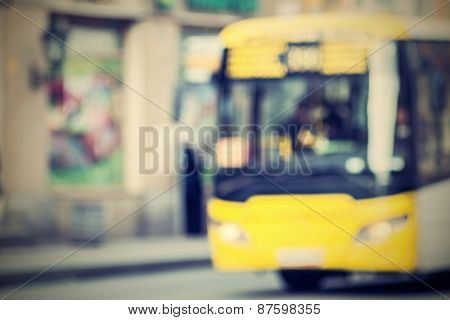 The Vague Image Of Bus On Street