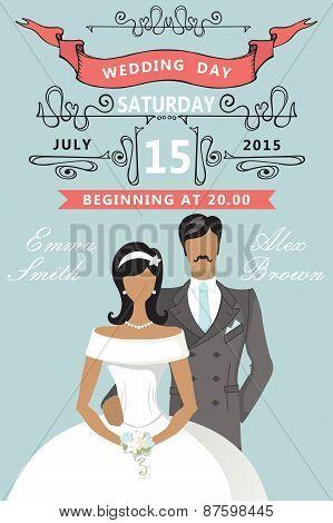 Wedding invitation. Cute cartoon bride and groom