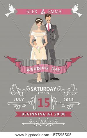 Wedding invitation.Cute  cartoon bride and groom
