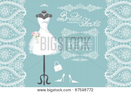 Wedding bridal dress with winter paisley border