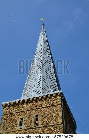 Church steeple in England.
