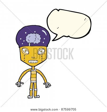 cartoon weird robot with speech bubble