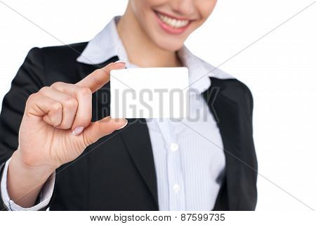 Showing Sign - Business Card Woman. Businesswoman In Suit Holding Empty Business Card