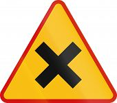 foto of crossroads  - A Polish sign warning about crossroads  - JPG