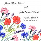 picture of sweet pea  - Watercolor painted wedding invitation - JPG