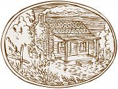 foto of farm-house  - Etching engraving handmade style illustration of a log cabin farm house with smoke coming out from chimney set inside oval shape with trees and plants in the background - JPG