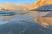 foto of lofoten  - Sunrise in Haukland beach in Lofoten - JPG