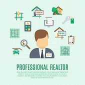foto of avatar  - Real estate concept with professional realtor avatar and property symbol vector illustration - JPG