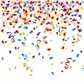 pic of confetti  - Colorful party background with confetti on the white vector illustration - JPG