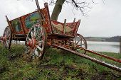 foto of wagon  - Old ornamented wooden wagon abandoned next to a tree - JPG