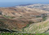 picture of ravines  - The hills valleys and ravines of the  Rural park Betancuria on Fuerteventura one of the Canary islands in the Atlantic Ocean belonging to Spain