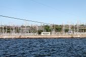 foto of hydroelectric power  - Zaporozhye hydroelectric power station on the Dnieper - JPG