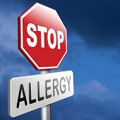 stock photo of reaction  - Allergy stop allergies and allergic reactions hypersensitivity disorder of the immune system asthma attack caused by food or pollen hay fever - JPG