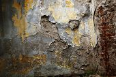 stock photo of concrete pouring  - photographed in daylight poured paint old wall texture background image - JPG