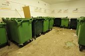 foto of garbage bin  - Garbage bins for garbage and recycling in a public Place - JPG