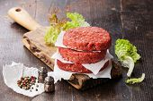 picture of hamburger-steak  - Raw Ground beef meat Burger steak cutlets and seasonings on dark wooden background - JPG