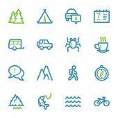 stock photo of travel trailer  - Travel web icons set - JPG