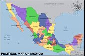 image of political map  - Illustration of a Political Map of Mexico - JPG