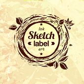 stock photo of food logo  - Natural product sketched stamp - JPG
