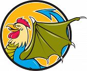 image of bat wings  - Illustration of a basilisk an animal with the head torso and legs of a rooster the tongue of a snake the wings of a bat and with a snake - JPG