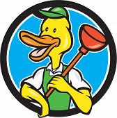 pic of plunger  - Cartoon style illustration of a duck plumber holding plunger on shoulder looking to the side set inside circle on isolated background - JPG