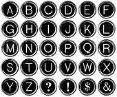 picture of ampersand  - Black and white graphic style antique typewriter keys including question mark - JPG