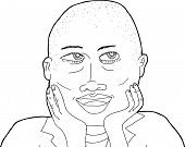 picture of shaved head  - Outline of beautiful African woman with shaved head - JPG