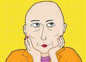stock photo of shaved head  - Cartoon of thoughtful grinning lady with shaved head - JPG