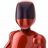 picture of cyborg  - Red robot futuristic cyborg concept - JPG