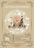 foto of invitation  - Wedding invitation card with retro bride and groom on retro bicycle - JPG