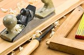 stock photo of chisel  - Set of carpenters working tools - JPG