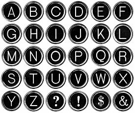 stock photo of ampersand  - Black and white graphic style antique typewriter keys including question mark - JPG