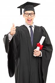 picture of graduation gown  - Vertical shot of an overjoyed graduate student in a graduation gown - JPG