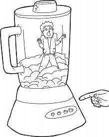stock photo of blender  - Blender full of food and man stuck inside blender - JPG