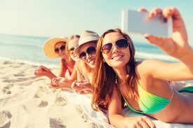 stock photo of selfie  - summer vacation - JPG