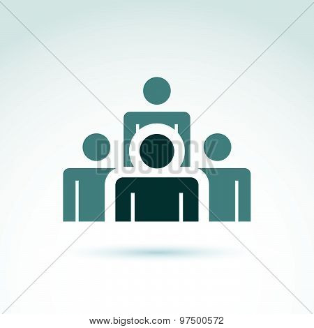 Teamwork and business team and friendship icon, social group, organization, vector symbol