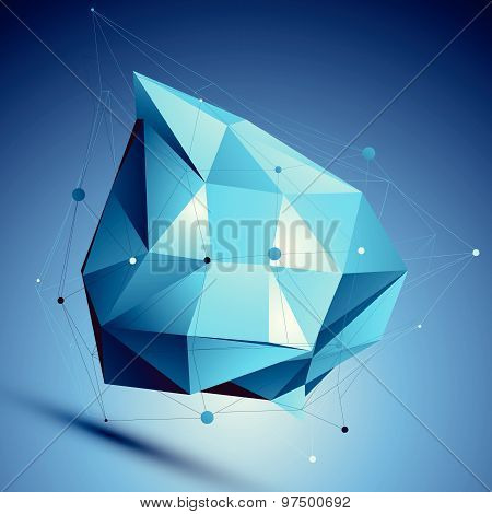 Blue 3D vector abstract design template, colorful polygonal complicated figure with lines mesh