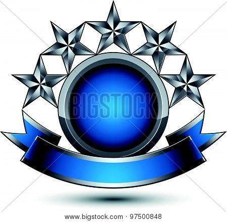 Silver geometric symbol with curvy ribbon, stylized silver pentagonal stars, web design