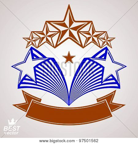 Vector stylized royal symbol. Aristocratic graphic emblem with five pentagonal stars and wavy band