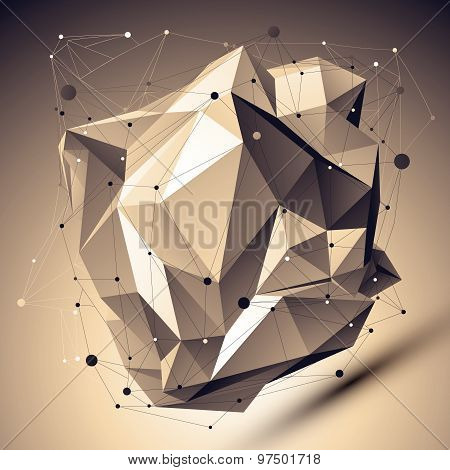 Contemporary technology asymmetric stylish construction, abstract dimensional background