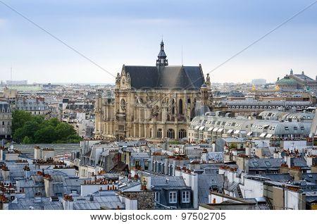 Saint-germain L'auxerrois Church With Paris Skyline