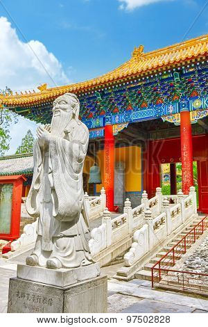 Statue Of Confucius, The Great Chinese Philosopher In Temple Of Confucius At Beijing.