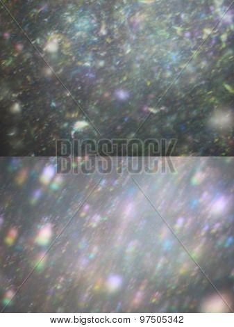 Set Of Two Silver Bokeh With Lights