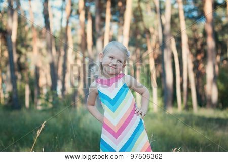 Little Girl In A Colorful Dress.