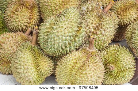 Group Of Durian Fruits In The Market For Sale.they Are Fruit That Smelly With Some People Do Not Lik
