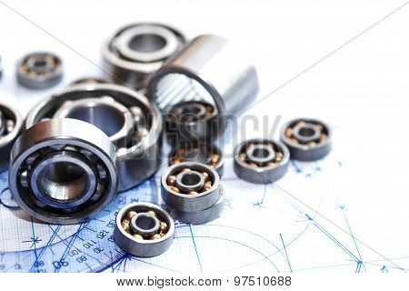Ballbearings On Blueprint