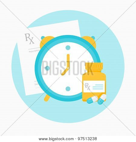 Medicine Prescription, Clock and Bottle with Pills Illustration